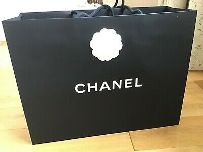 £18 • Buy CHANEL Black And White Paper Rope Shopping Gift Bag & Camellia + Ribbon