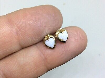 £24.99 • Buy Stunning Antique Vintage Pair Of 9ct Gold & Opals Love Heart Earrings