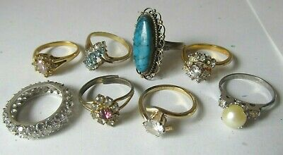 $ CDN26.80 • Buy LOT 8 Vintage Women's COSTUME JEWELRY RINGS Sterling Silver TURQUOISE