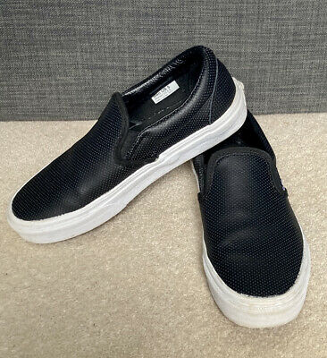 £10 • Buy Vans Women Perf Leather Classic Slip-On Shoes Black - US Size 6.5