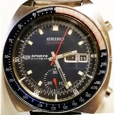 $ CDN1571.29 • Buy SEIKO 5 SPORTS 6139-6000 Speed Timer Day-Date Automatic Black Dial Watch