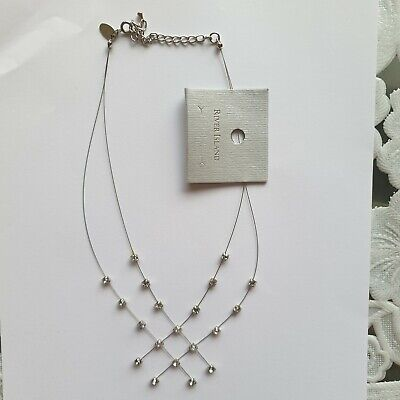 £8 • Buy River Island Womens Jewellery Short White-Sparkle  Chain Necklace