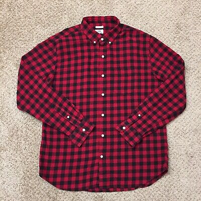 $17.60 • Buy Old Navy Slim Fit Mens XL Red/Black Plaid Long Sleeve Button Front Flannel Shirt