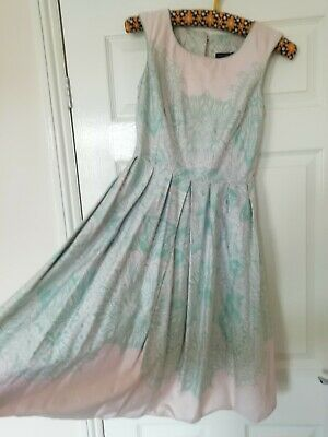 £6 • Buy Mint Lace Patterned 1950s A Line Dress With Tulle Underskirt Attached- Size 6
