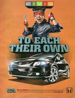 £7.19 • Buy 2011 Print Ad Of Honda Civic 201-HP Si Coupe LARPer Gamer To Each Their Own