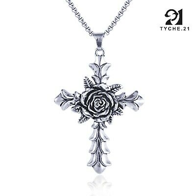$12.99 • Buy Mens Womens Vintage Christian Rose Cross Pendant Necklace Stainless Steel 24