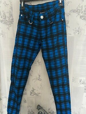 £3 • Buy Banned Alternative Blue Checked Pants Size XS