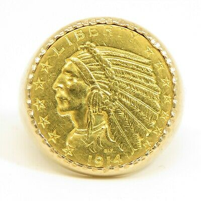 £1064.06 • Buy NYJEWEL 14k Gold 1914 Indian Head $5 Dollars Gold Coin Ring 19.9g