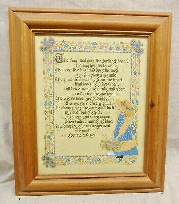 £2.20 • Buy Lovely Pine Picture Frame And Inspirational Verse Smiling Country Girl
