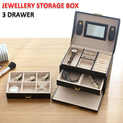 AU23.99 • Buy Jewellery Storage Box Watch Case Holder Ring Earring Necklaces Display Organizer