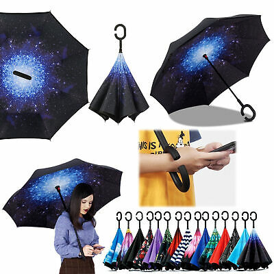 AU15.99 • Buy Windproof C-Handle Reverse Umbrella Upside Down Double Layer Inside-Out Inverted