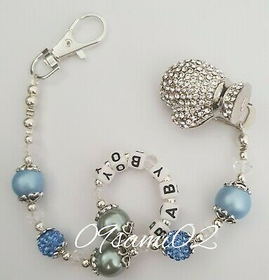 £8.75 • Buy Personalised Boys❤ Bling Dummy Clip,Pearl & Crystal Romany Boxing Glove