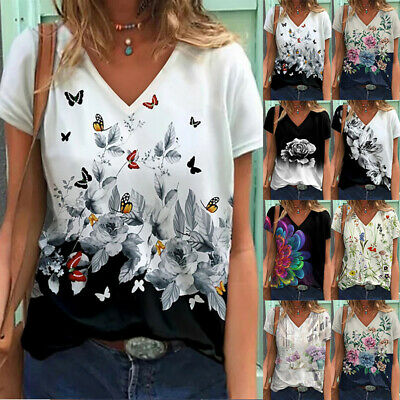 £8.99 • Buy Womens Summer V Neck T Shirt Blouse Ladies Floral Print Tee Tops Loose T-Shirt