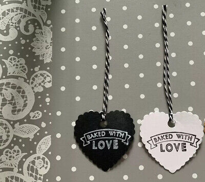 £2.50 • Buy 10 Handmade East Of India Baked With Love Stamped Scalloped Hearts Gift Tags