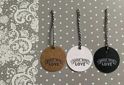 £2.50 • Buy 10 Handmade East Of India Baked With Love Stamped Round Gift Tags