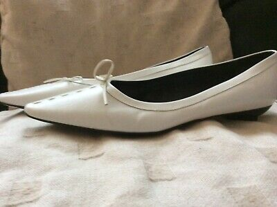 £18 • Buy Ladies Stunning Riva Leather Flat White Shoes - Size 8 - Brand New