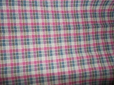 £2.20 • Buy 3 Large Pieces Vintage Checked Wool Blend Suit, Suiting Fabric Clothes Homeware