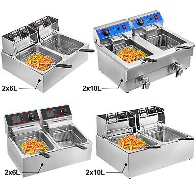 £81.99 • Buy Commercial 12/20L Electric Deep Fat Chip Fryer Dual Tank Basket Stainless Steel