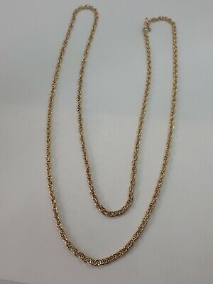£190 • Buy 9ct Gold Rope Link Chain Bright Finish 24 Inches 7.5 Grams