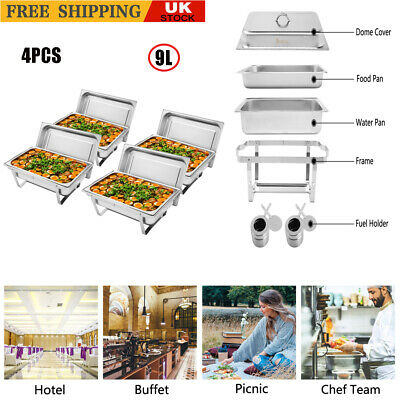 £163.99 • Buy 4Pcs 9L Stainless Steel Rectangular Buffet Stove Food Warmer Party Serving Tray