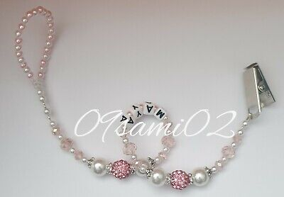 £5.25 • Buy Personalised Baby Girls❤ Bling Dummy Clip, Pearl & Crystal ❤romany❤