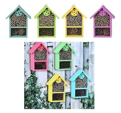 £9.99 • Buy Wooden Insect Bug Hotel Bee House Natural Wood Shelter Garden Nest Box Coloured