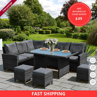 £649 • Buy Rattan Garden Furniture 6 Piece Patio Set Table Chairs 9 Seater Mix Grey - Brown