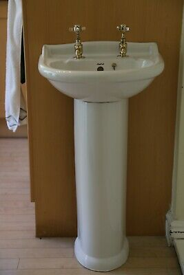 £30 • Buy Twyfords Small Sink With Pedestal And Pegler Brass Taps And Brass Waste