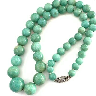 £68 • Buy Antique Art Deco Sterling Silver Amazonite Bead Necklace EBY64