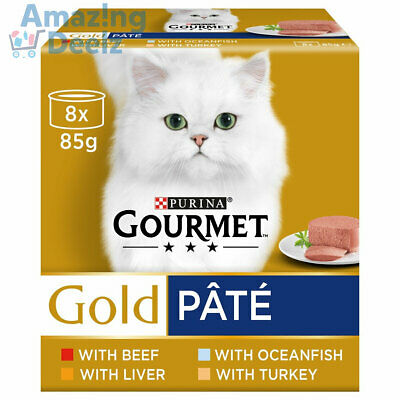 £10.09 • Buy Purina Gourmet Gold Pate Wet Cat Food Tins - Variety Pack (8x85g) FREE DELIVERY