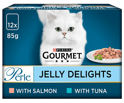£9.79 • Buy Purina Gourmet Perle Jelly Delight Wet Cat Food 12 X 85g Pouches -Fish Selection