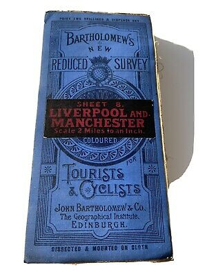 £2.99 • Buy Bartholomews Vintage Colour Linen Map Liverpool & Manchester Ideal For Craftin