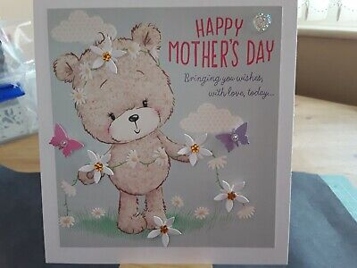 £2.40 • Buy Large Handmade Mothers Day Card Topper, Flowers, Butterflies, Gems.