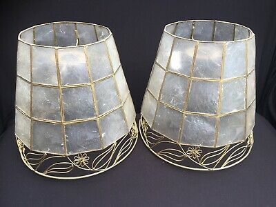 £18 • Buy Pair Of Vintage 1980's Capiz Shell Pendant Light Shades Clear Frosty Finish