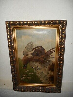 £170.36 • Buy Antique Oil Painting,{ Hunting Dog With His Catch, Is Signed, Nice Frame! }.