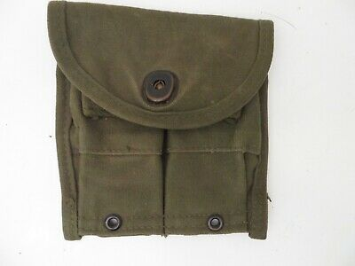 $19.95 • Buy VG Condition US Army USMC OD M-1 Carbine Web Two 15 Round Clip Pouch