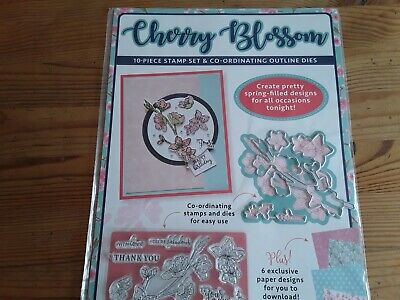 £5.25 • Buy Cherry Blossom Die & Stamp Set, Birthday, Flowers Card Toppers.