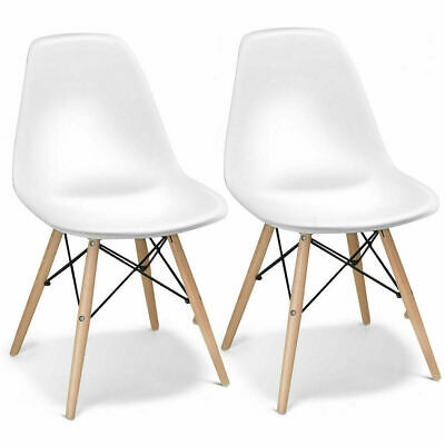 £46.81 • Buy 2x Dining Table Chairs Solid Wood Legs Retro Lounge Plastic Home Office Chair
