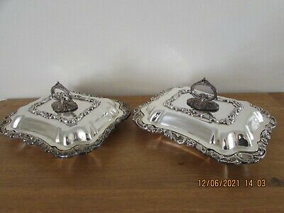 £90 • Buy Matched Pair Of Antique Silver Plated Lidded Entrée Dishes Removable Handles