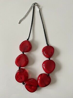 £10 • Buy Red Large Beaded Cord Statement Necklace, Costume Jewellery - Quality Gift Shop