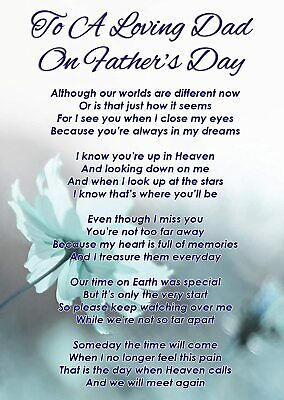 £2.99 • Buy To A Loving Dad On Father's Day Graveside Poem Memorial Card & Ground Stake F338