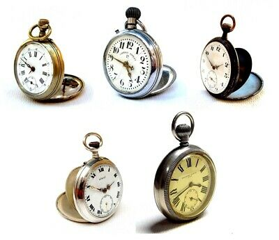 £139.77 • Buy Lot 5 Watches Antique Pockets Open Face Hand Winding To Restore Parts Watchmaker