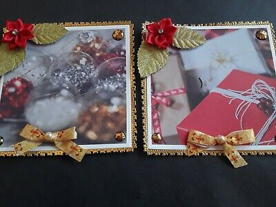 £2.40 • Buy Two Handmade Christmas Card Toppers,  Flowers, Bows, Gems,  Baubles.