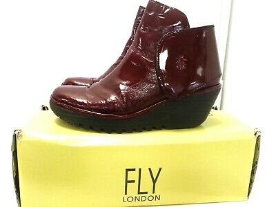 £9.99 • Buy Statement Fly London Yogi Burgundy Patent Leather Ankle Boots Shoes Size 40/7