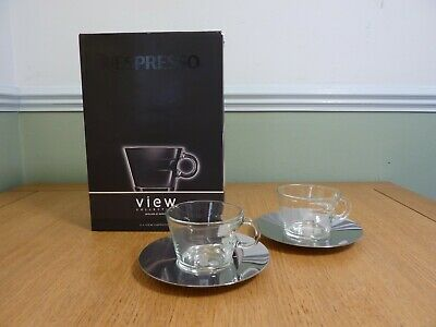 £15 • Buy NEW In Box Nespresso VIEW Cappuccino Cups & Saucers Set Of 2 Glass With Saucers