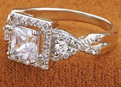 £8.99 • Buy Unusual Princess Cut Halo Cubic Zirconia Silver Plated Ring Size W