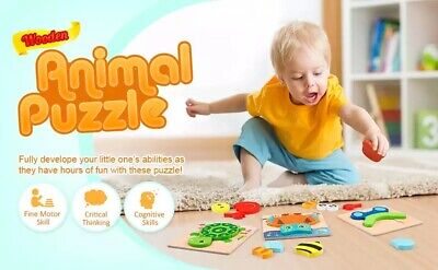 £3.50 • Buy Kids 3D Wooden Puzzle Set, Toys Colorful Number  Geometry Shape Cognition Gift