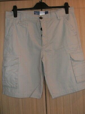 £6.99 • Buy Charles Wilson Mens Shorts Size 34 Stone/grey Cotton Cargo Button Front BNWO