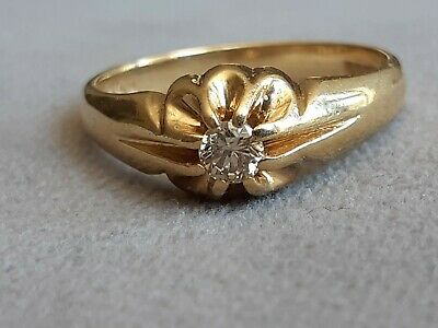 £350 • Buy 18ct Gold Diamond Solitaire Gypsy Ring Size S Hallmarked Heavy 6.5 Grams