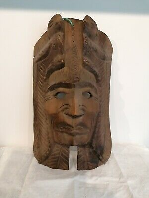 £12.50 • Buy Vintage Hand Carved Wooden MAYAN MASK With 2 QUETZAL Birds 16 X9   Wall Hanging